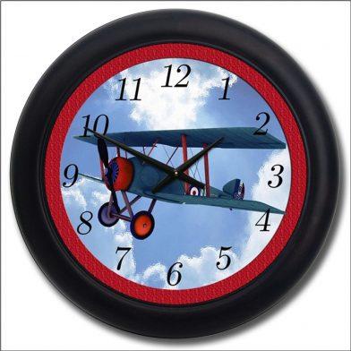 Airplane Clock Red black frame
