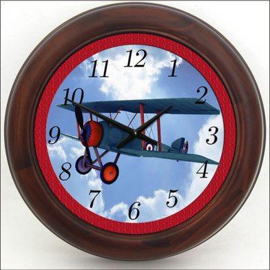 Airplane Clock Red brn frame