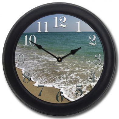 Beach Clock Black Frame