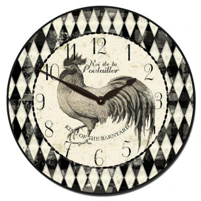 Black & Cream Rooster Clock