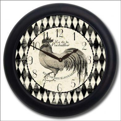 Black & Cream Rooster Clock blk frm