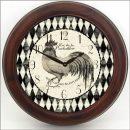 Black & Cream Rooster Clock brn frm