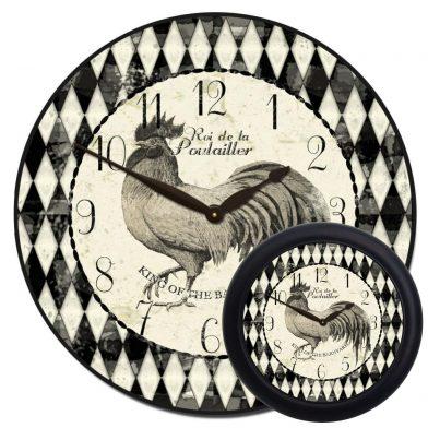 Black & Cream Rooster Clock mix