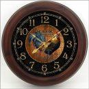 Black & Wood Rooster Clock brn frm