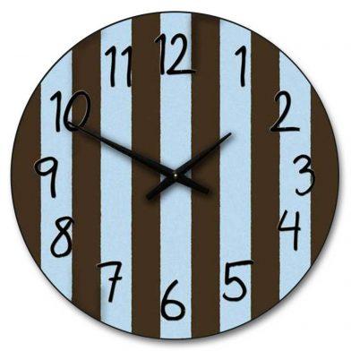 Blue & Brown Stripe Clock