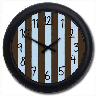 Blue & Brown Stripe Clock blk frm