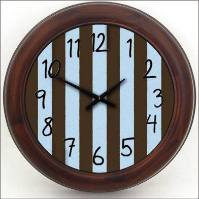 Blue & Brown Stripe Clock brn frm