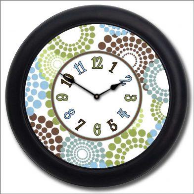 Blue, Green & Brown Dots Clock blk frm