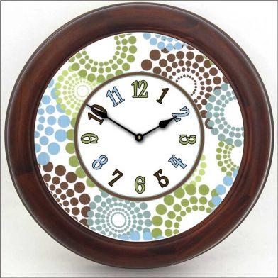 Blue, Green & Brown Dots Clock brn frm