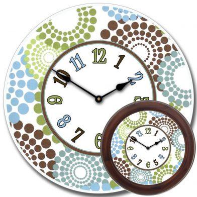 Blue, Green & Brown Dots Clock mix