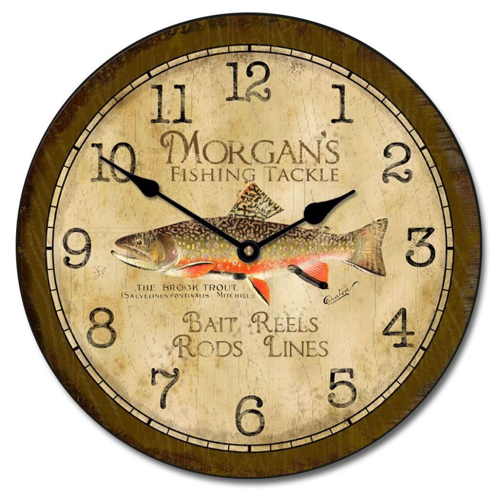 Fishing clocks fisher wall clock the big clock store fishing clock amipublicfo Gallery