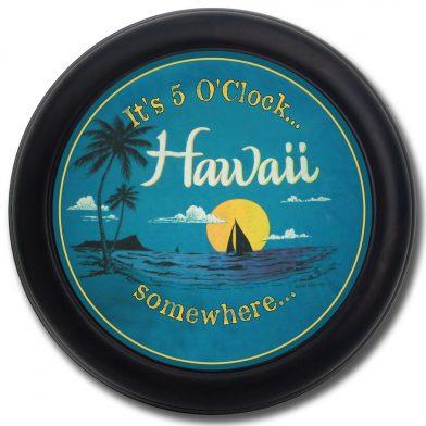 Hawaii Beach Clock blk frm