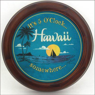 Hawaii Beach Clock brn frm