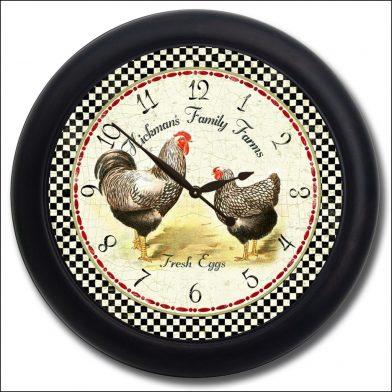 Hickmans Rooster Clock blk frm