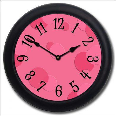 Hot Pink Bubbles Clock blk frm