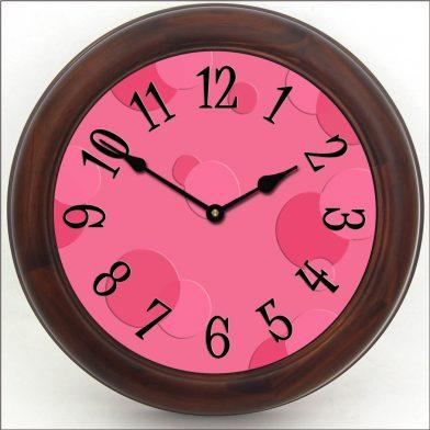Hot Pink Bubbles Clock brn frm