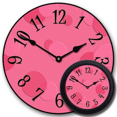Hot Pink Bubbles Clock mix