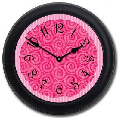 Hot Pink Swirl Clock blk frm
