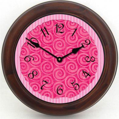 Hot Pink Swirl Clock brn frm