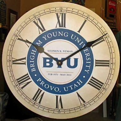 BYU clock, Parchment, Roman Nums, Logo