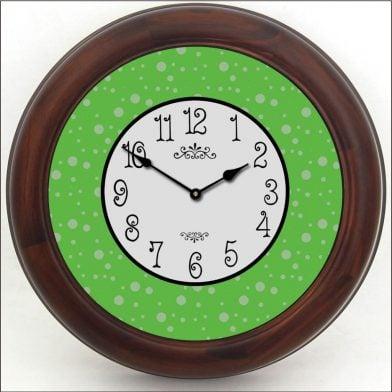 Lime Green Dots Clock brn frm