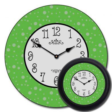 Lime Green Dots Clock mix