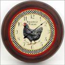 Little Black Hen Clock brn frm