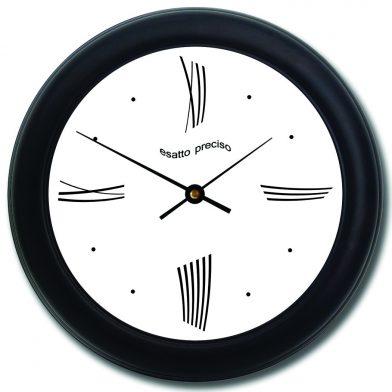 Modern Roman Wall Clock blk frm.