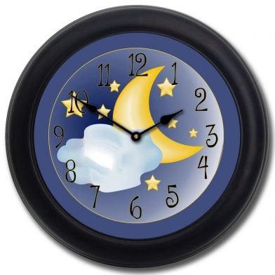 Moon & Stars Clock blk frm