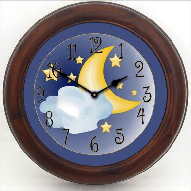 Moon & Stars Clock brn frm