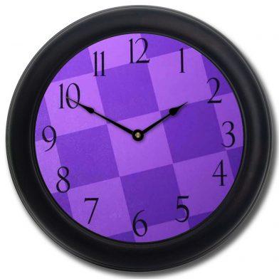 Purple Check Clock blk frm