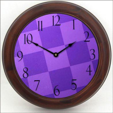 Purple Check Clock brn frm
