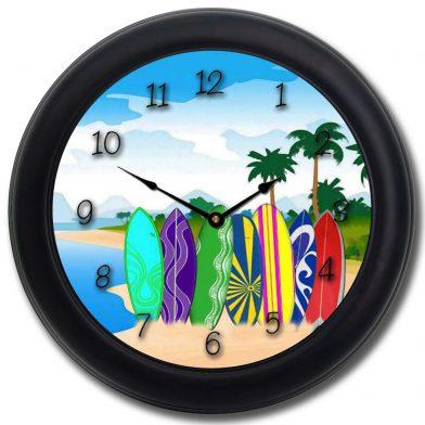 Surfboard Clock blk frm