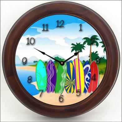 Surfboard Clock brn frm