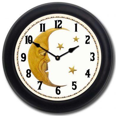 Vintage Moon Clock blk frm