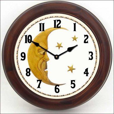 Vintage Moon Clock brn frm