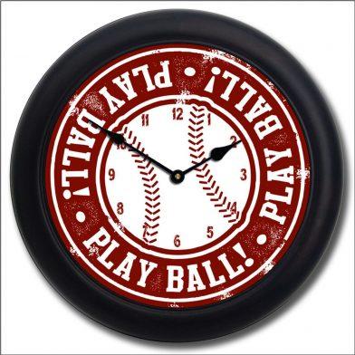Baseball 2 Clock blk frm