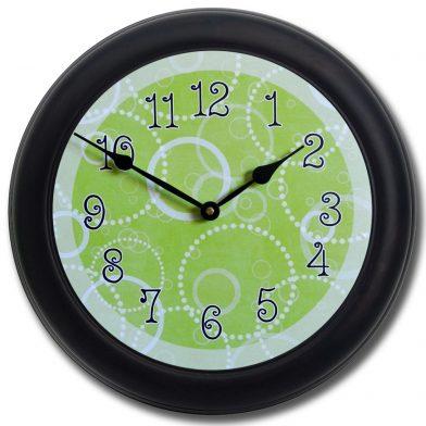 Lime Green Circles Clock blk frm