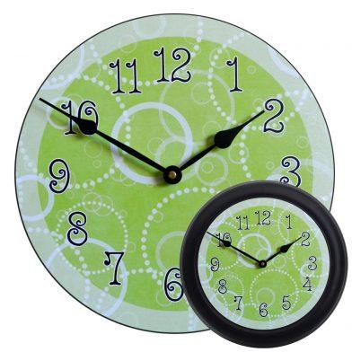 Lime Green Circles Clock mix