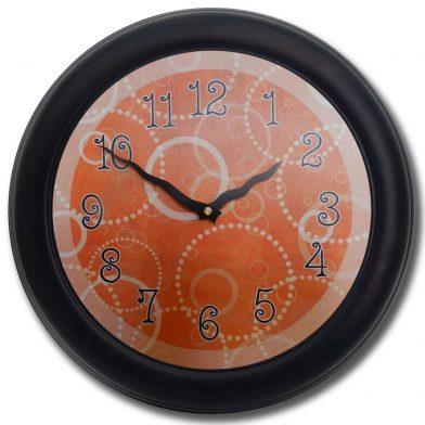 Orange Circles Clock blk frm