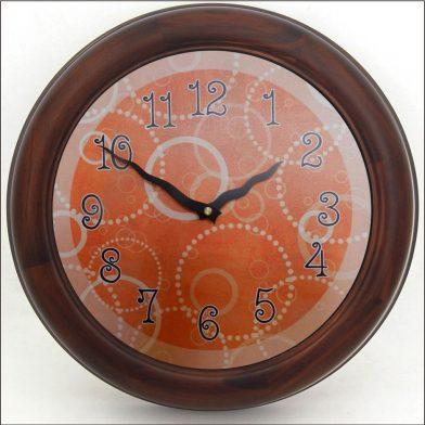 Orange Circles Clock brn frm