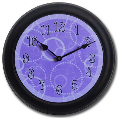 Purple Circles Clock blk frm