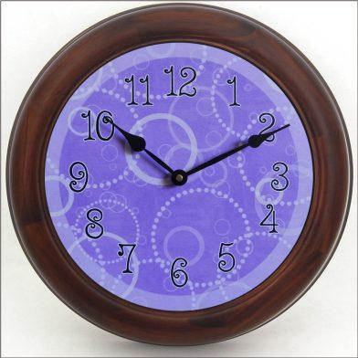 Purple Circles Clock  brn frm