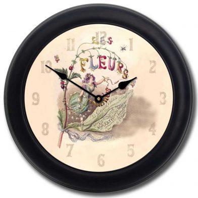 Vintage Fairy Clock blk frm