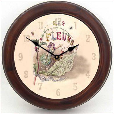 Vintage Fairy Clock brn frm