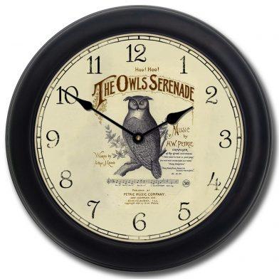 Owl Serenade Clock blk frm