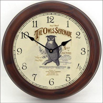 Owl Serenade Clock brn frm