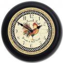 Romantic Rooster Tan Clock blk frm