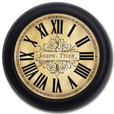 Tuscan Villa Clock blk frm