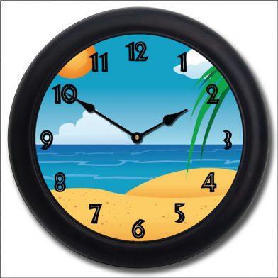 Beach 3 Clock blk frm